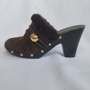 Coach Brown Suede Studded Clogs